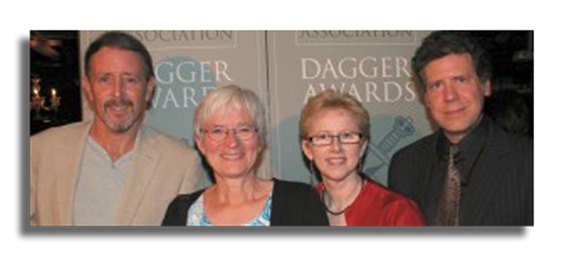 2009 Winners of CWA Dagger Awards Left-to-right: Colin Cotterill, Catherine OKeefe, Margaret Murphy and Sean Chercover. Photo: Fiona Davies