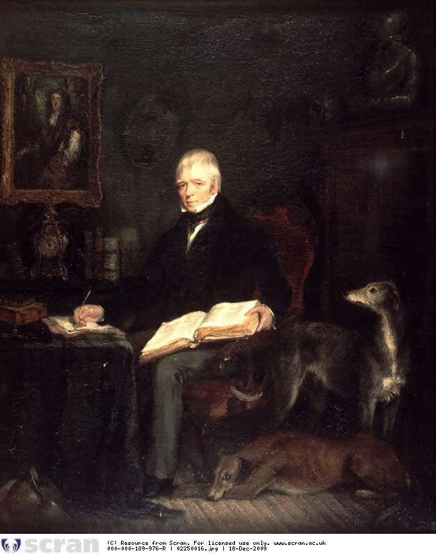 "Painting by Sir Francis Grant of ""Sir Walter Scott in his study at Abbotsford writing his last novel 'Count Robert of Paris' "", 1831. Source : SCRAN"
