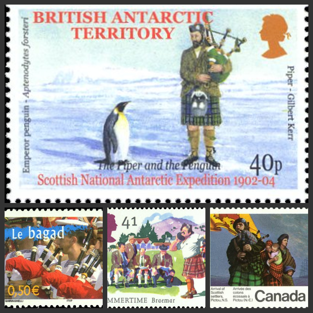 bagpipes on stamps