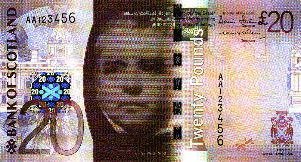 Sir Walter Scott on Bank of Scotland  20 £ banknote