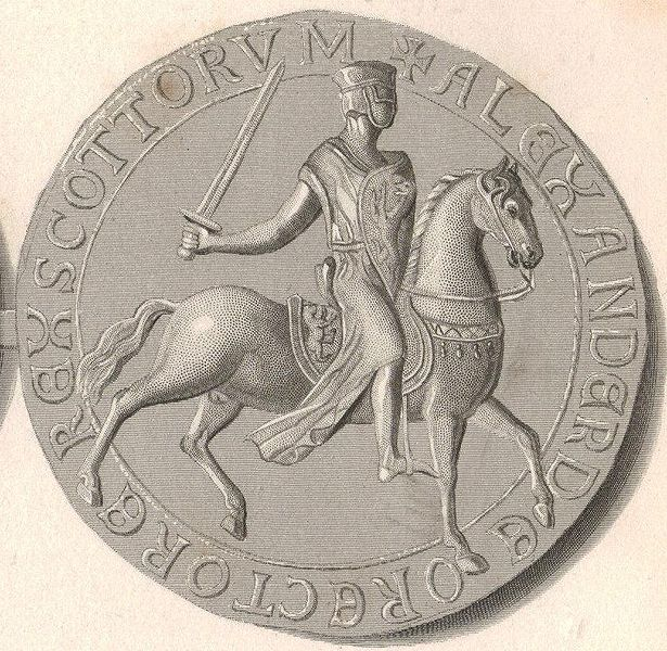 Steel engraving and enhancement of the Great Seal of Alexander II, King of Alba (Scotland)