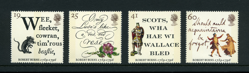 Robert Burns Commemorative Postal Stamps - Great Britain