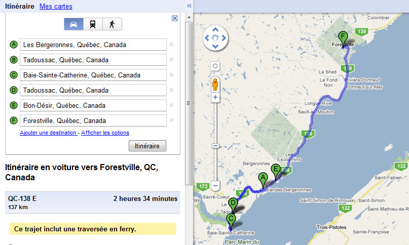 Quebec QC From Grandes-Bergeronnes to Forestville Itinerary