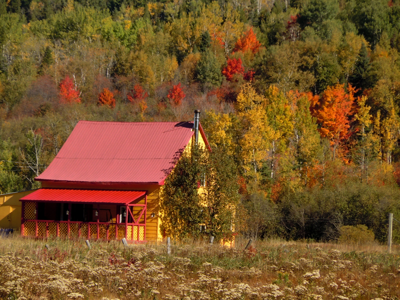 Red and Yellow Wooden House Road 138 near Tadoussac Quebec PQ