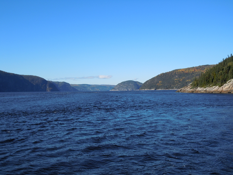 View of the entrance to the Saguenay Fjord from the Tadoussac ferry