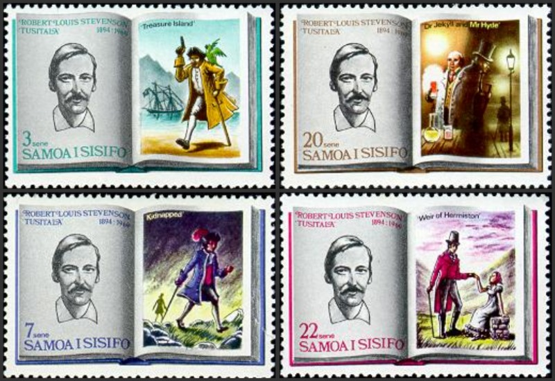 Robert Louis Stevenson 1969 Samoa Postage Stamps 75th Ann Death