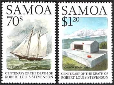 Samoa Robert Louis Stevenson - Centenary Death -Equator Sailing Ship and Tomb