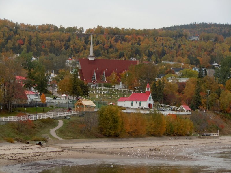 Tadoussac beach chapel church hills Quebec QC