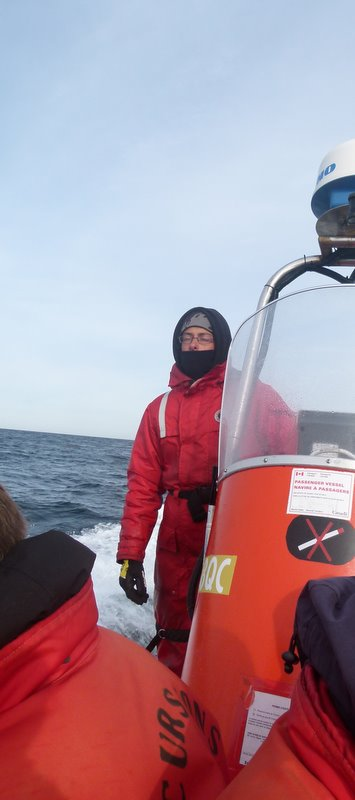 Zodiac whales watching cruise pilot Tadoussac Quebec