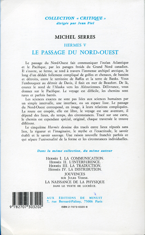 "Le passage du Nord-Ouest Michel Serres Hermes V Les Editions de Minuit Collection ""Critique"" 1980"