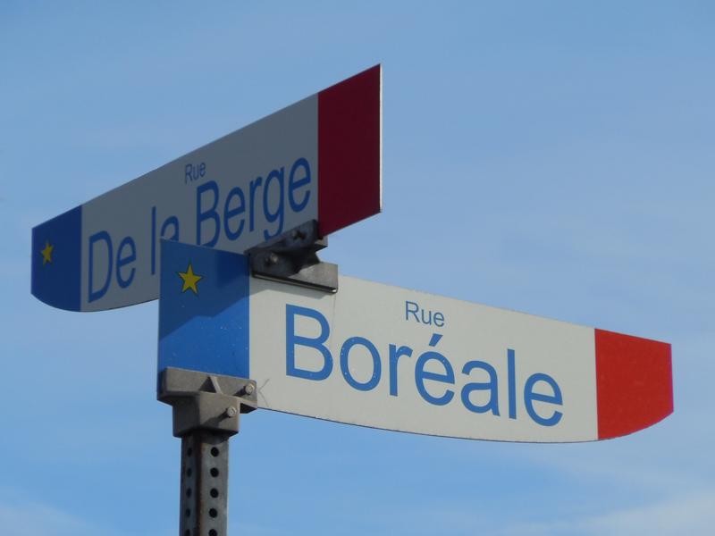 Rue Boréale Rue de la Berge road sign Havre-Saint-Pierre Côte-Nord Quebec PQ Scotiana 2010