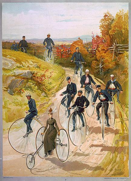 Bicycling ca 1887  Hy Sandham Aquarelle print by L. Prang & Co Source Wikipedia