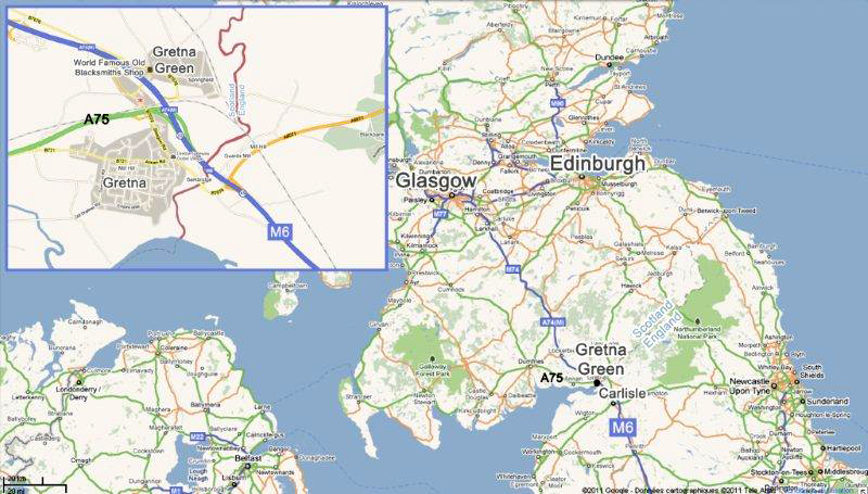 Gretna-Gretna Green-Carlisle-Edinburgh Scotiana modified Google map