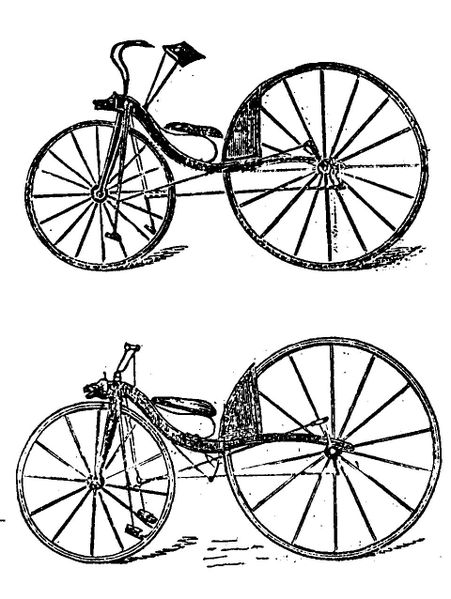 McCall's first (top) and improved velocipede 1869 Wikipedia from English Mechanics