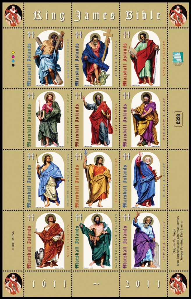 Marshall Islands - King James Bible 400th Ann -  Sheet 12 stamps