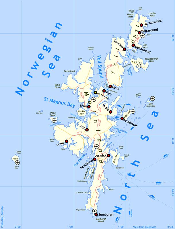 Shetland map - Source Wikipedia 'Shetland'