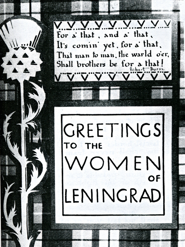 Greetings to the Women of Leningrad illustration  Dear Allies Margaret Henderson Burns &Thistle page Monklands District Libraries 1988