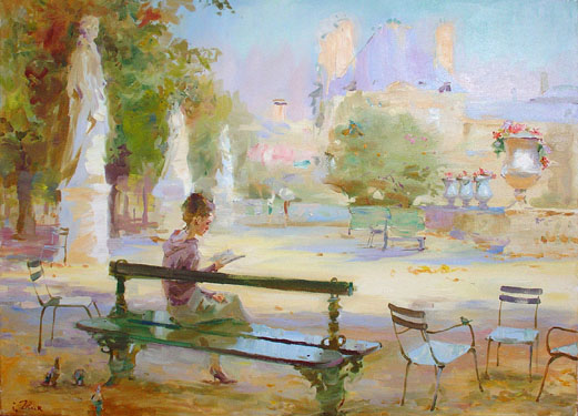 'Reading' Igor Zhuk oil canvas 70 x 50 cm