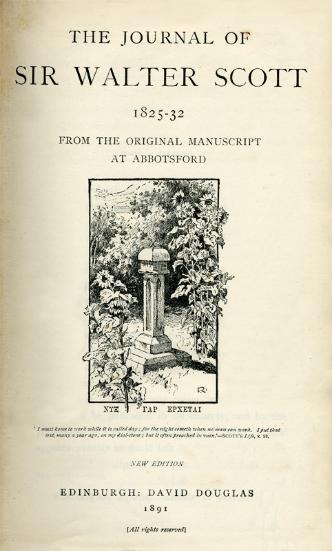 Frontispiece of Sir Walter Scott's Journal - David Douglas Edinburgh 1891 edition