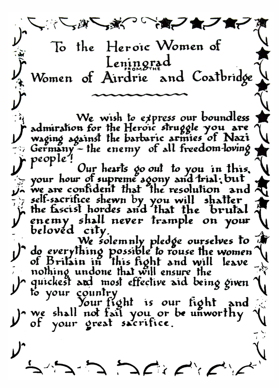 To Women of Leningrad  text Dear Allies Margaret Henderson 1988 Monklands District Libraries