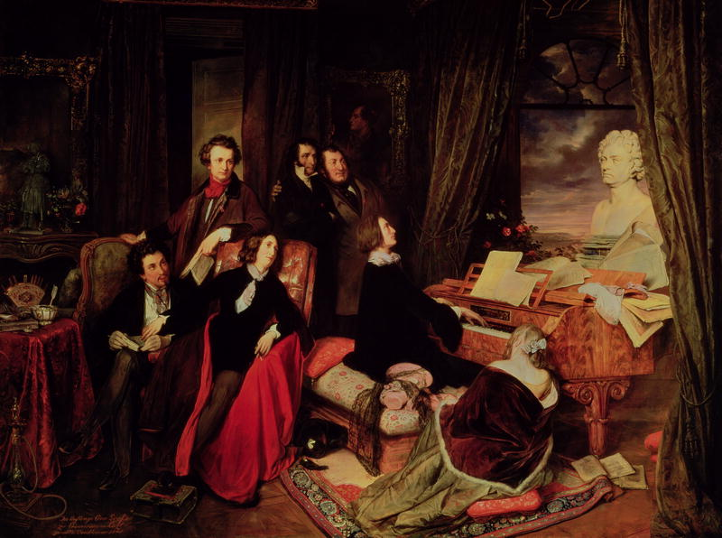 Franz Liszt Fantasizing at the Piano by Josef Danhauser 1840 - Source Wikipedia
