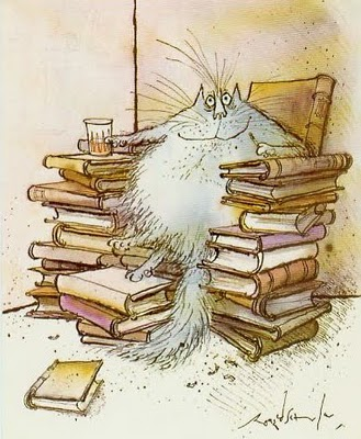 ronald searle cat and books drawing