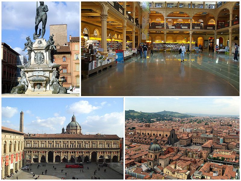 Bologna Italy Collage photos Bologna-SanPetronio-PiazzaMaggiore Source Wikipedia