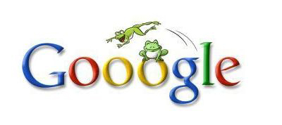 Google Doodle logo adorned with frogs