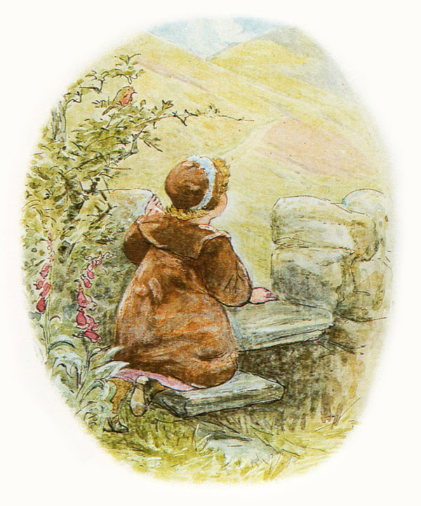 Lucie climbing up the stile - Illustration from TheTale of Mrs.Tiggy-winkle The Complete Tales F.Warne & Co 1889