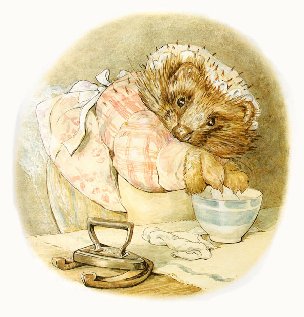 Starching linen - Illustration from The Tale of Mrs Tiggy-Winkle Beatrix Potter The Complete Tales Warne & Co 1989