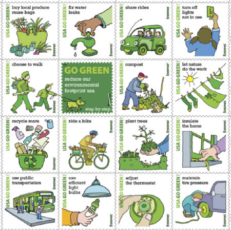 USA Go Green Postage Stamps
