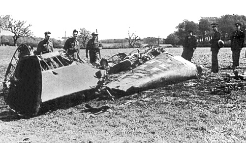 The wreckage of Hess's Bf 110 in Bonnyton Moor Scotland May 10th 1941 Source Wikipedia