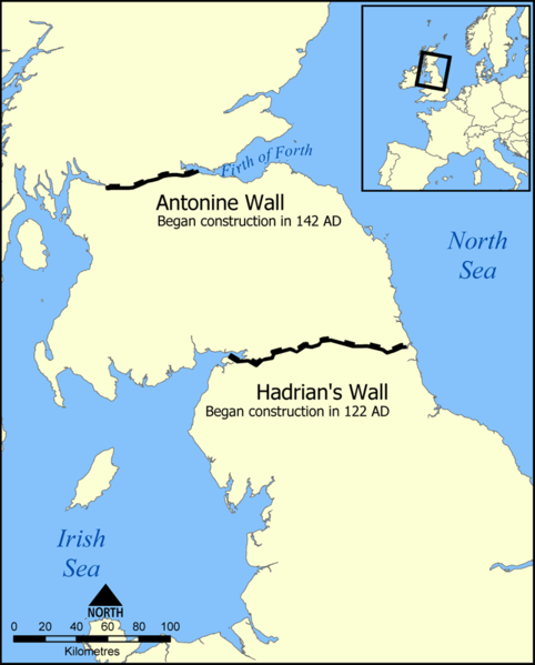 Hadrian's and Antonine Walls map - Source Wikipedia