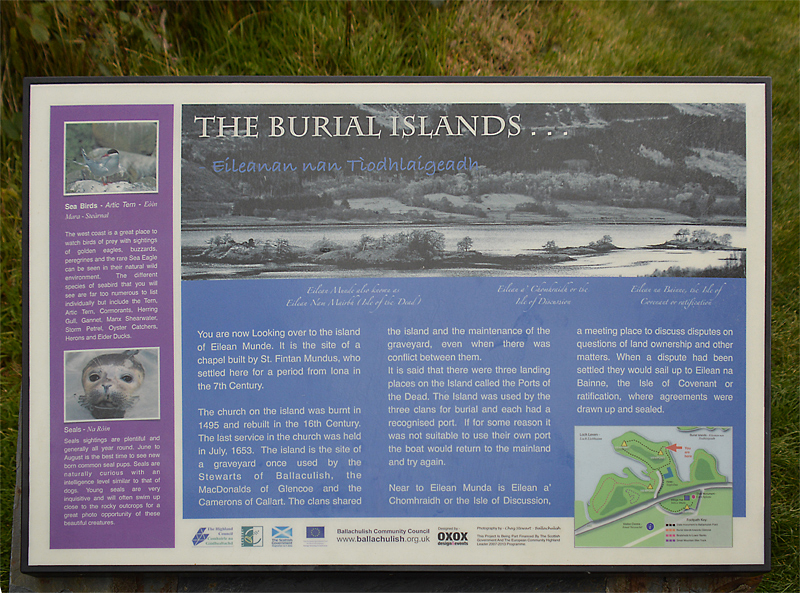 Loch Leven The Burial Islands of the MacDonalds information board © 2012 Scotiana