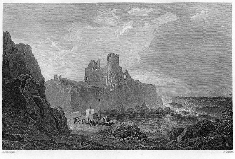 Tantallon Castle engraving William Miller after Alexander Nasmyth Waverley Novels