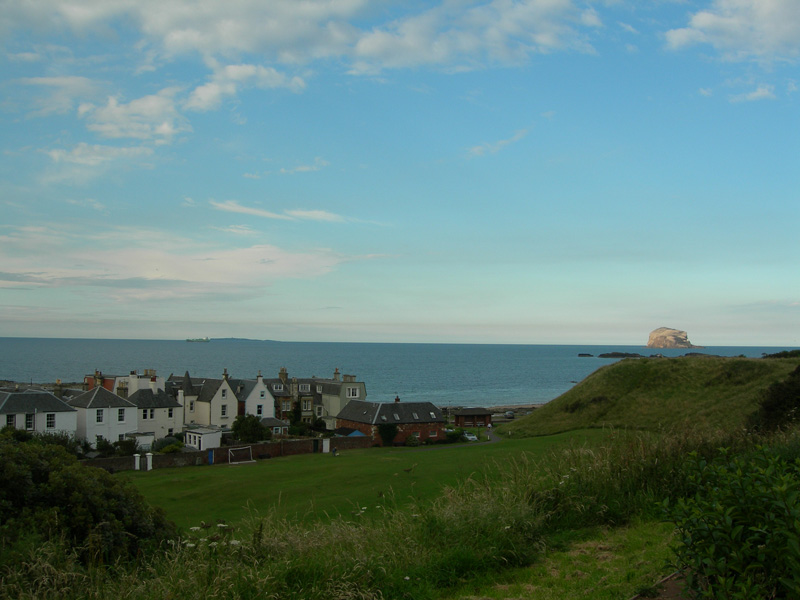 North Berwick seaside front houses with Bass Rock in the distance