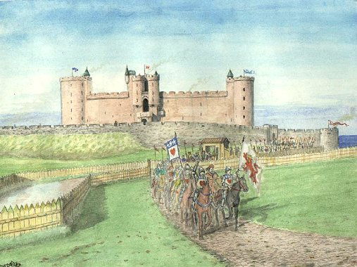 Reconstruction of Tantallon  castle with Douglas horsemen Andrew Spratt