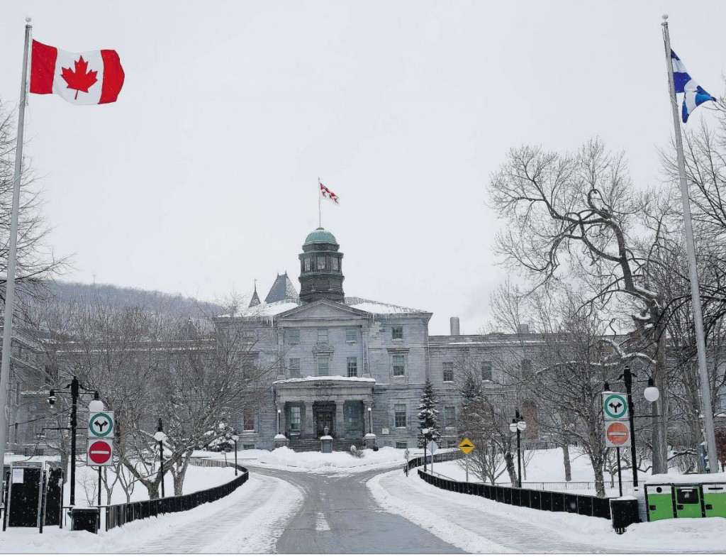 mcgill university front entrance sherbrooke street in winter