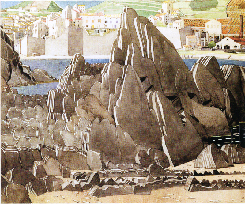 The Rocks watercolour by Charles Rennie Mackintosh Port-Vendres 1927