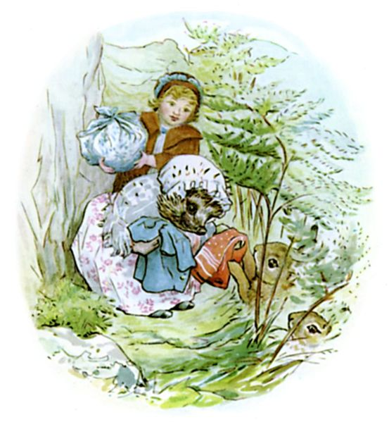 One of Beatrix Potter's illustrations for The Tale of Mrs Tiggy Winkle