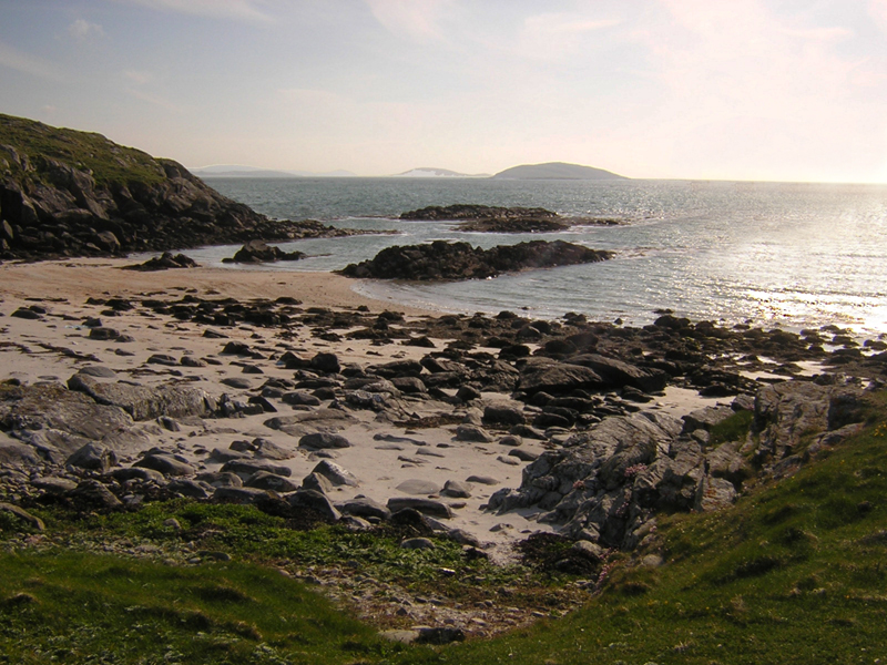 A rocky beach near the place of landing of Bonnie Prince Charlie in Eriskay, Outer Hebrides,  1745 © 2004 Scotiana