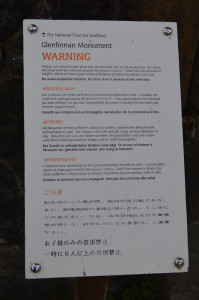 Glenfinnan tower warning DSC_6406