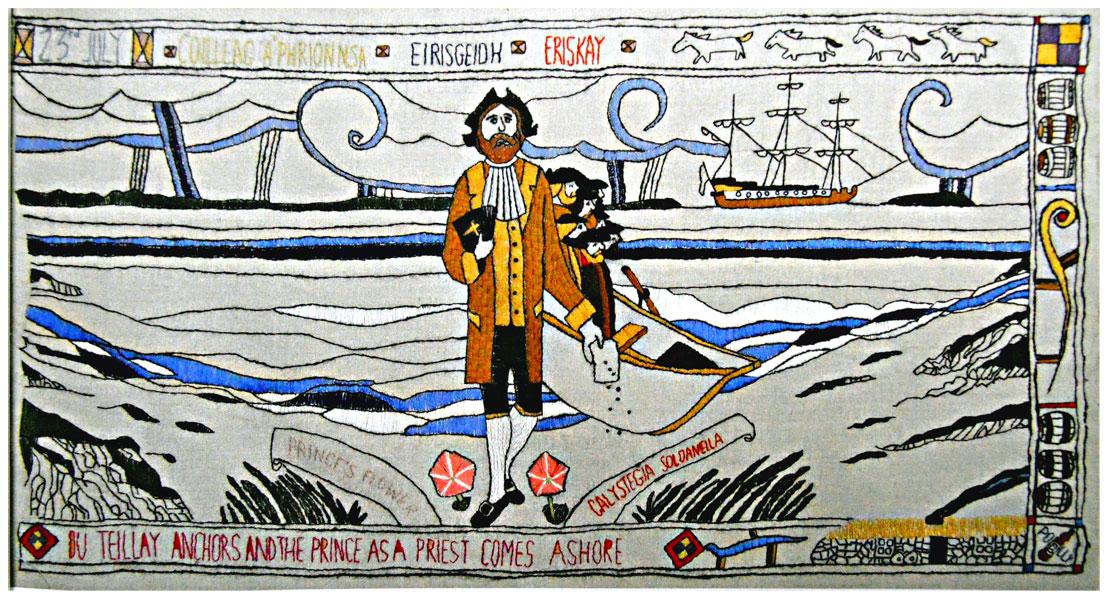Prestonpans Tapestry Panel 8 The Prince comes ashore at Eriskay © 2013 Scotiana