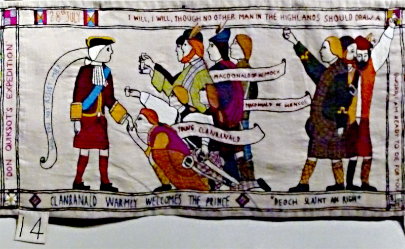 The Prestonpans Tapestry panel 12 Clanranald welcome © 2013 Scotiana