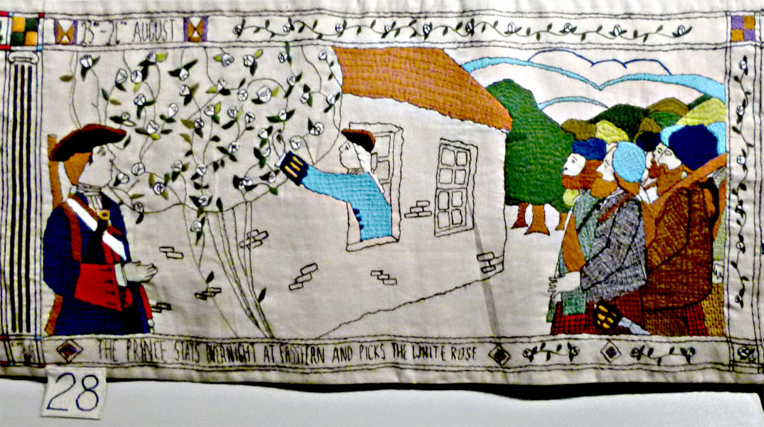 The Prestonpans Tapestry panel 28 The Prince's white rose © 2013 Scotiana