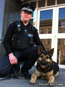 PC Ryan Galloway and Nipper Source BBC Scotland