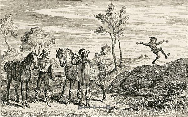 Kenilworth Flibertigibbet Tressilian Wayland Smith  George Cruikshank 1837