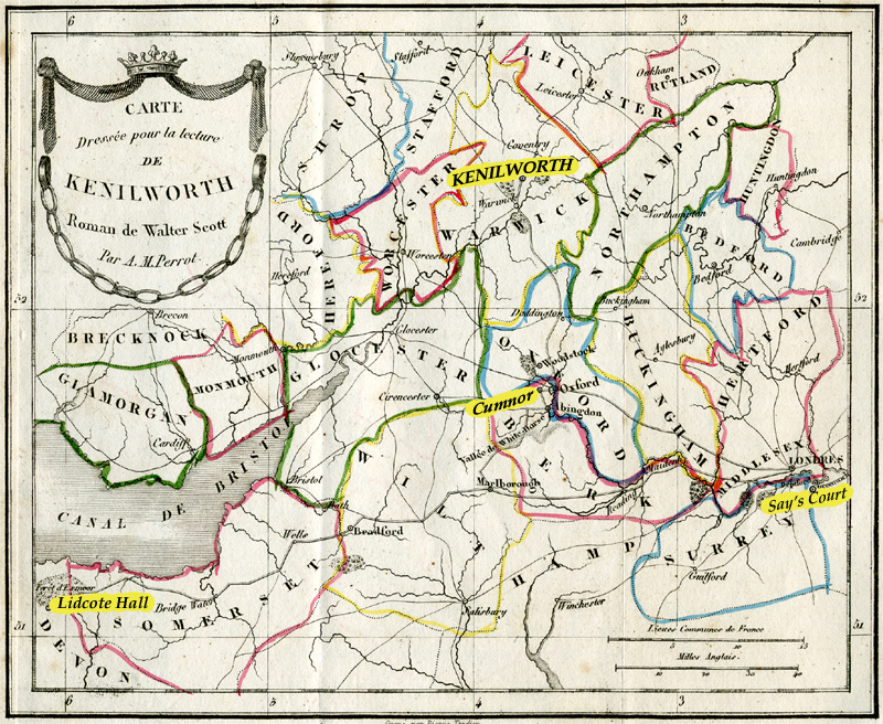 Map Kenilworth Sir Walter Scott's novel old French Furne edition