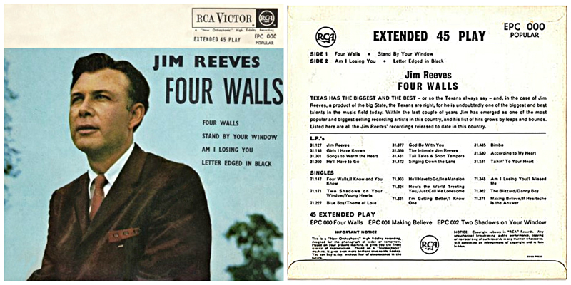 Jim Reeves Four Walls 1957 picture sleeve 1-2