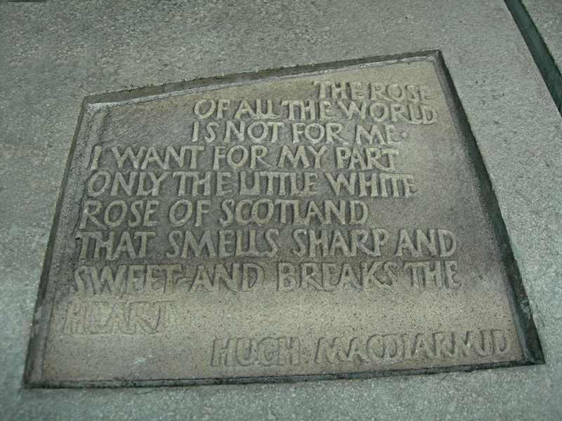 Hugh MacDiarmid's quoteThe little white rose of Scotland  Scottish Parliament  © 2006 Scotiana
